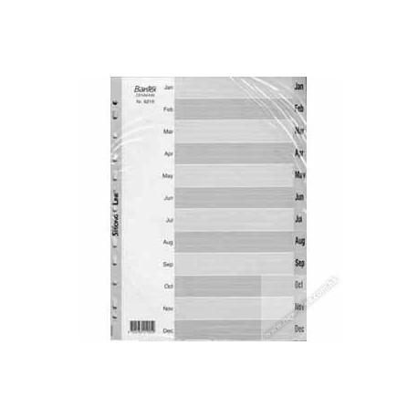 Bantex 6219 PVC Index Divider A4 Jan-Dec Grey