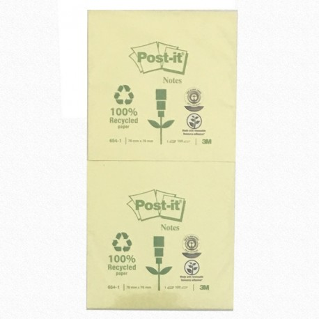 "3M Post-it 654-1 Note Recycled 3""x3"" Yellow"