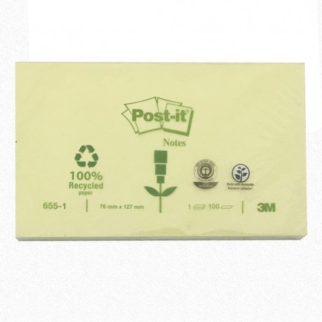 "3M Post-it 655-1 Note Recycled 3""x5"" Yellow"