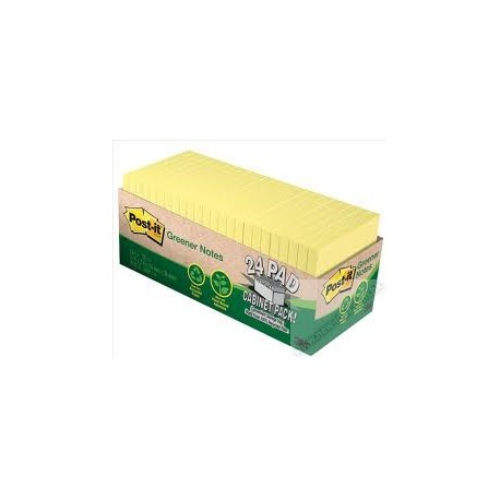 "3M Post-it 654-PR-24CP Note Recycled 3""x3"" 24Pads Yellow"