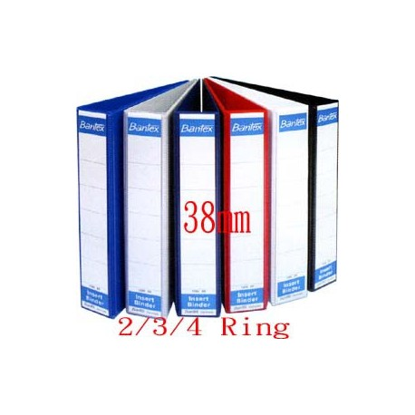 Bantex 1283 2D Ring PVC Insert Binder A4 38mm Black