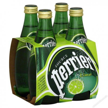 Perrier Sparkling Mineral Water Lime 330ml 4Bottles
