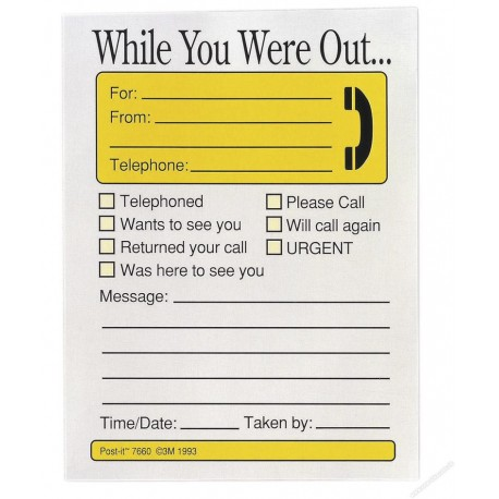 3M Post-it 7660-4 While You Were Out Telephone Message Pad