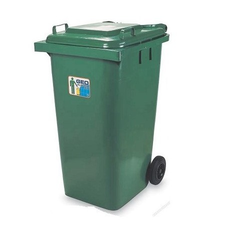 GEO 240 w/Lid & Wheel Rubbish Bin 204Litre Green