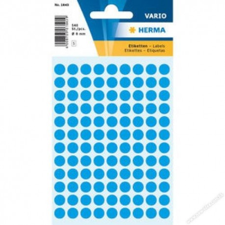 Herma 1843 Round Labels 8mm 540's Light Blue