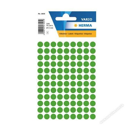 Herma 1835 Round Labels 8mm 540's Dark Green