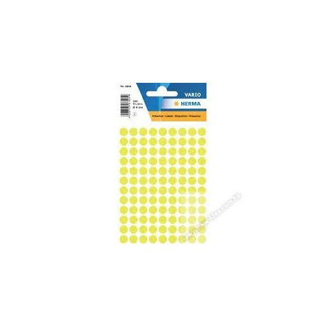 Herma 1834 Round Labels 8mm 540's Luminous Yellow