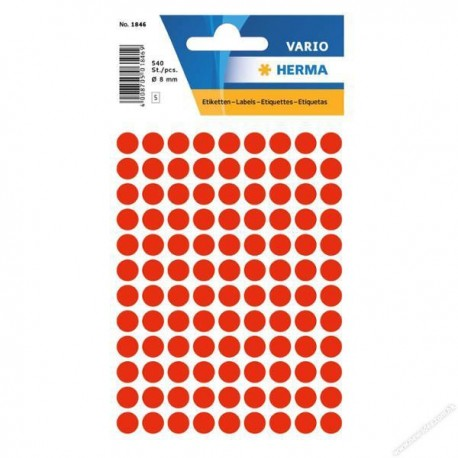 Herma 1846 Round Labels 8mm 540's Luminous Red