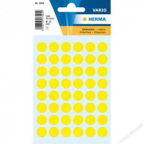 Herma 1861 Round Labels 12mm 240's Yellow