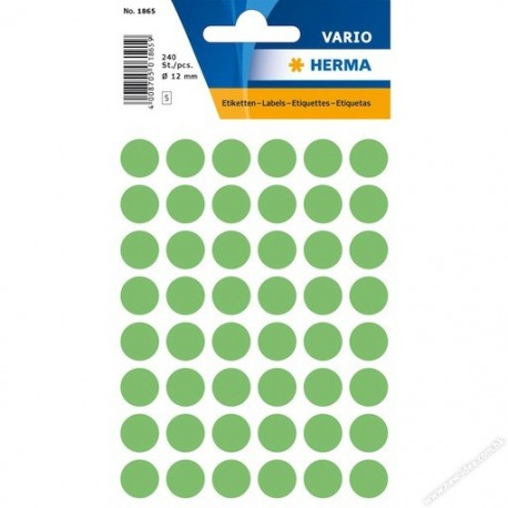 Herma 1865 Round Labels 12mm 240's Green