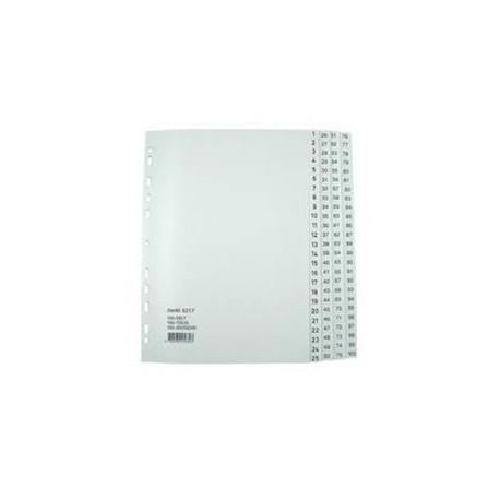 Bantex 6217 PVC Index Divider A4 1-100 Grey
