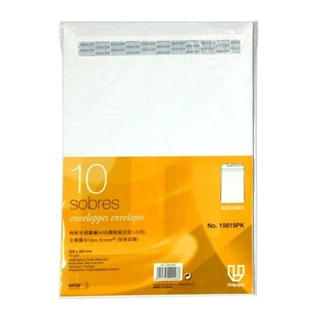 A Tech E9819 自動黏貼保密封條白信封 A4 10個