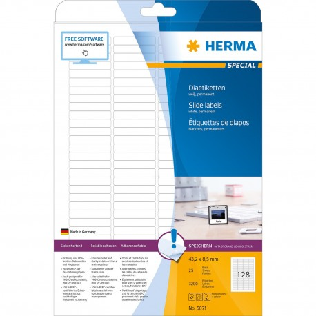 Herma 5071 Slide Labels A4 43.2mmx8.5mm 3200's White