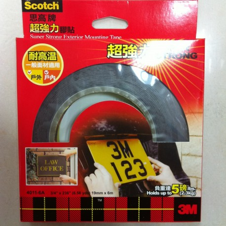 "3M Scotch 4011-6A Permanent Outdoor Mounting Tape 3/4""(19mm)x236"""