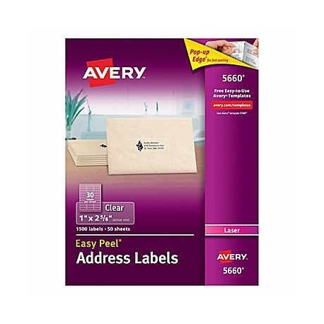 "Avery 5660 Address Labels 1""x2-5/8""1500's Clear"