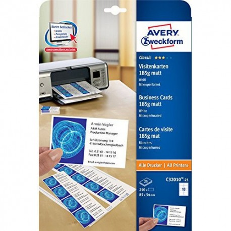 Zwecform 32010 Business Cards A4 85mmx54mm 250's 185gsm Matt White