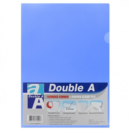 Double A A4 Plastic Folder Indigo Blue