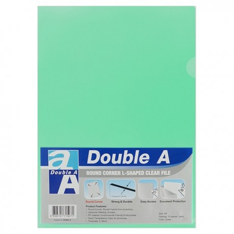 Double A A4 Plastic Folder Green