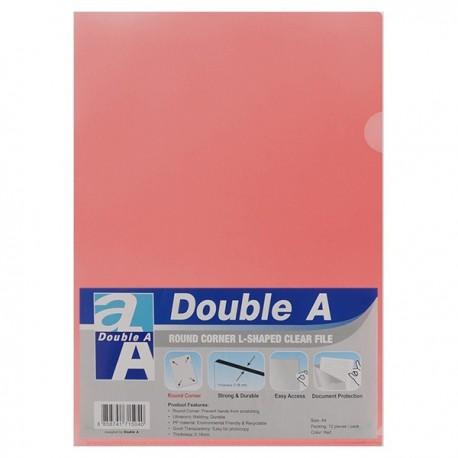 Double A A4 Plastic Folder Red