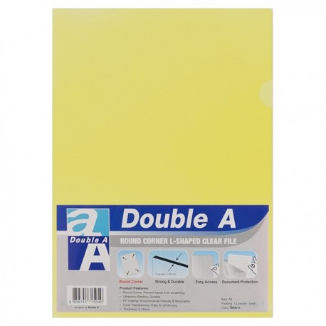 Double A A4 Plastic Folder Yellow