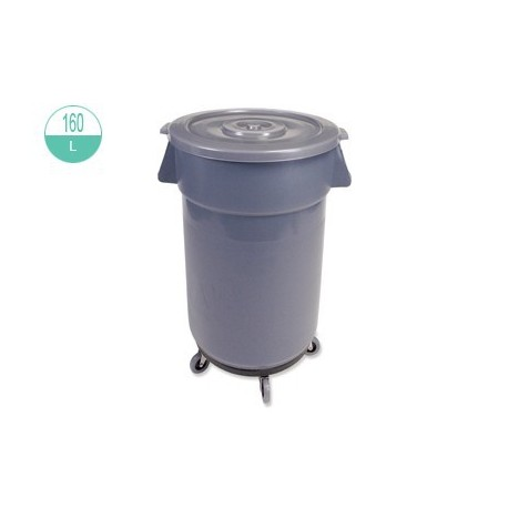 2242/2242-1 Round Pail With Lid And Wheel 160L