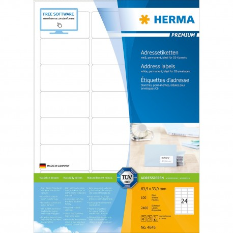 Herma 4645 Premium Labels A4 63.5mmx33.9mm 2400's White