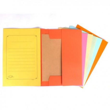 4-Fold Paper Folder F4 Beige/Blue/Green/Orange/Pink/Yellow