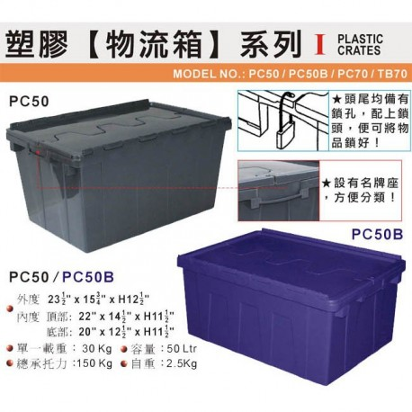 "PC50 Plastic Industrial Container 23-5/8""x15-3/4""x12-5/8"" Grey"