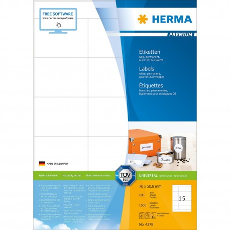 Herma 4278 Premium Labels A4 70mmx50.8mm 1500's White