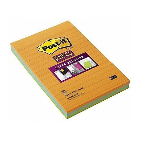 "3M Post-it 4645-3SSAN Super Sticky Lined Noted 4""x6"" 3Pads Neon Colors"