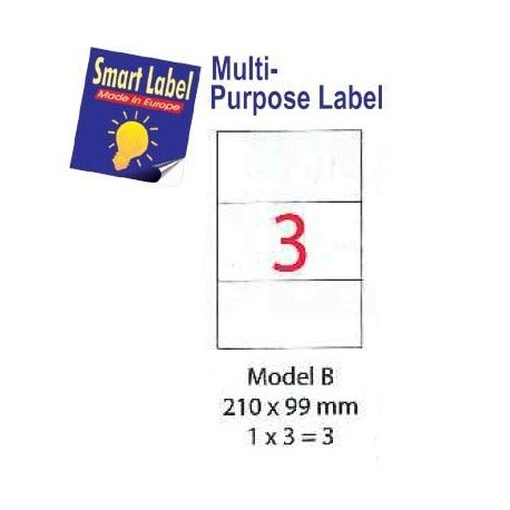 Smart Label Model B Multipurpose Labels A4 210mmx99mm 300's White