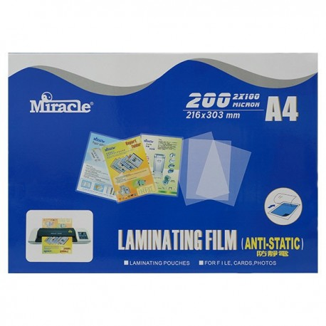Miracle Anti-static Laminating Film A4 216mmx303mm 100mic 100Sheets