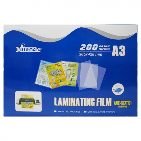 Miracle Anti-static Laminating Film A3 303mmx426mm 100mic 100Sheets