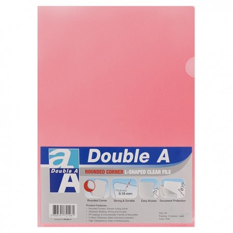 Double A A4 Plastic Folder Pink