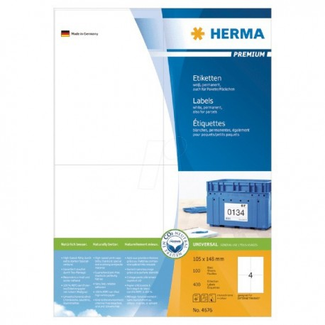 Herma 4676 Premium Labels A4 105mmx148mm 400's White