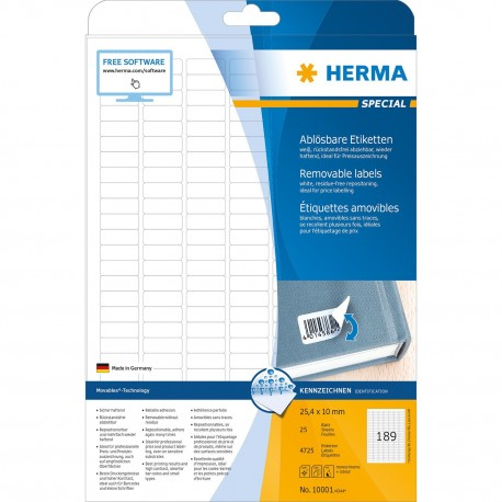 Herma 10001 Premium Labels A4 24.4mmx10mm 4725's White