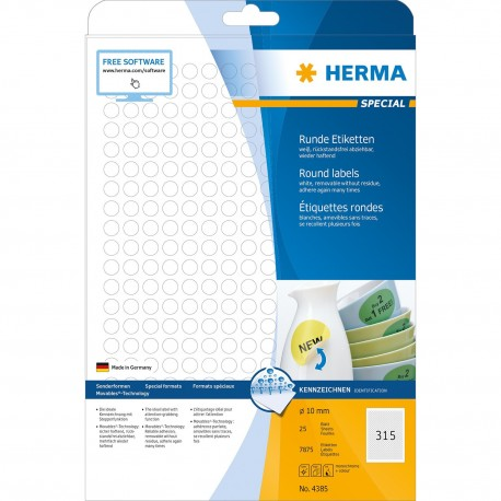 Herma 4385 Round Labels A4 10mm 7875's White