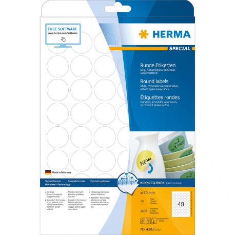 Herma 4387 Round Labels A4 30mm 1200's White