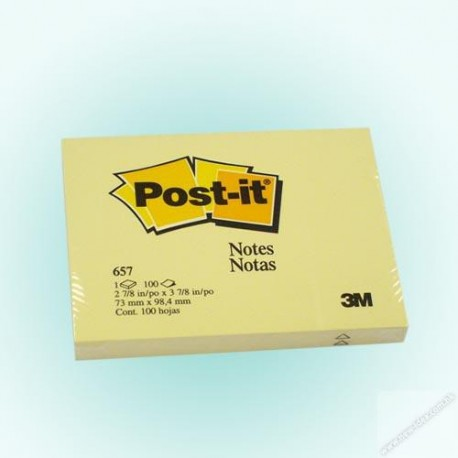 "3M Post-it 657 Note 3""x4"" Yellow"