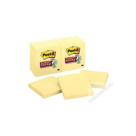"3M Post-it 654-SSCY Super Sticky Note 3""x3"" Yellow"