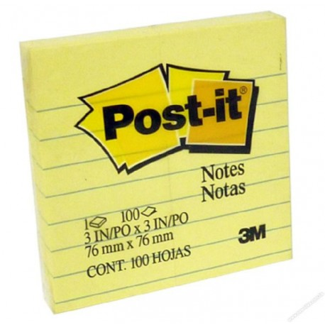 "3M Post-it 630 Note Lined 3""x3"" Yellow"