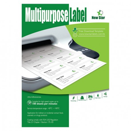 New Star N7163 Multipurpose Labels A4 99.1mmx38.1mm 1400's White