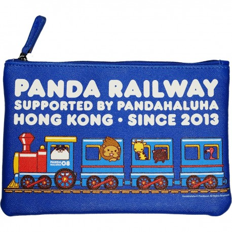 BRZP-PH-01 Broidery Series Zip Pouch 3D Printing PH-01 Panda Railway (Blue)