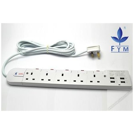 FYM S354USBH Individual Switches Extension Socket 13Ax5+4USB