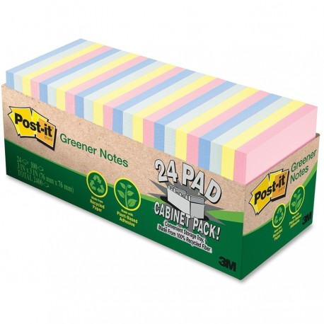 "3M Post-it 654R-24CP Recycled Note 3""x3"" 28Packs"