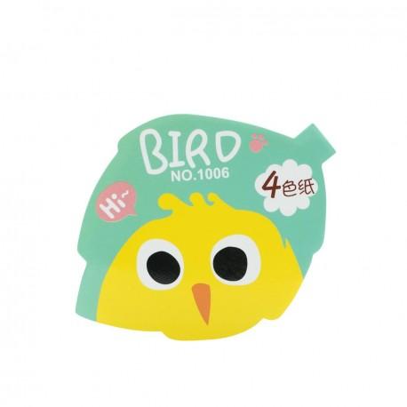 Qiaweisi Note 4-Color Bird Leaf Shape 10cmLx8cmW