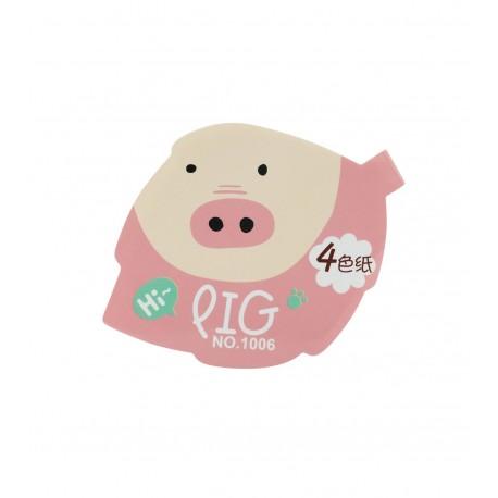 Qiaweisi Note 4-Color Pig Leaf Shape 10cmLx8cmW