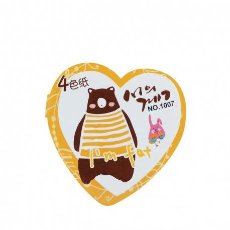 Qiaweisi Note 4-Color Heart Shape Bear 8cmLx8cmW