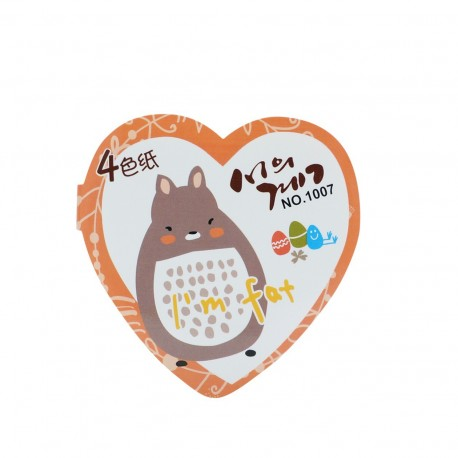 Qiaweisi Note 4-Color Squirrel Heart Shape 8cmLx8cmW