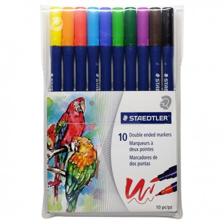 Staedtler Marsgraphic duo 3000 Double Ended Markers 10-Color
